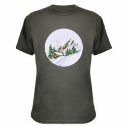 Камуфляжная футболка House in the snowy mountains