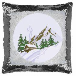 Подушка-хамелеон House in the snowy mountains