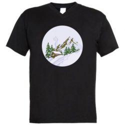 Мужская футболка  с V-образным вырезом House in the snowy mountains