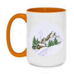 Кружка двухцветная 420ml House in the snowy mountains