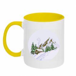 Кружка двухцветная 320ml House in the snowy mountains