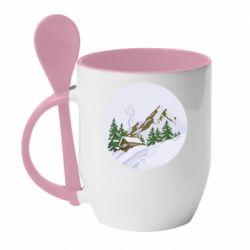 Кружка с керамической ложкой House in the snowy mountains