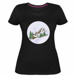 Женская стрейчевая футболка House in the snowy mountains
