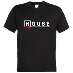 Мужская футболка  с V-образным вырезом House - FatLine