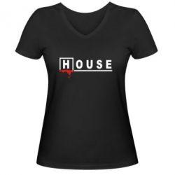 Женская футболка с V-образным вырезом House - FatLine