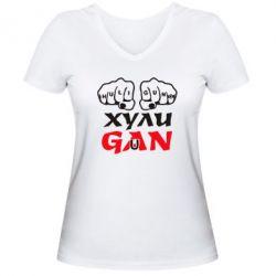 Женская футболка с V-образным вырезом Хулиган