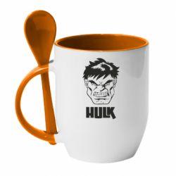 Кружка з керамічною ложкою Hulk face