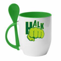 Кружка с керамической ложкой Hulk fist