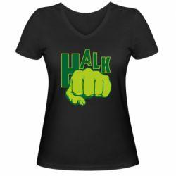 Женская футболка с V-образным вырезом Hulk fist