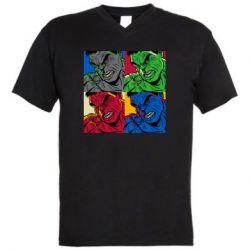 Мужская футболка  с V-образным вырезом Hulk pop art