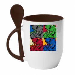 Кружка с керамической ложкой Hulk pop art