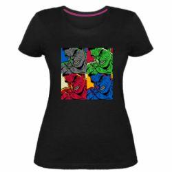 Женская стрейчевая футболка Hulk pop art