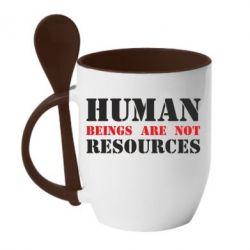 Кружка з керамічною ложкою Human beings are not resources
