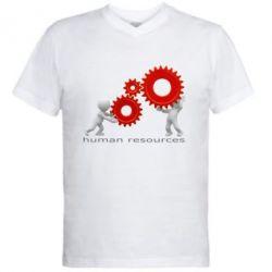 Мужская футболка  с V-образным вырезом Human resources work