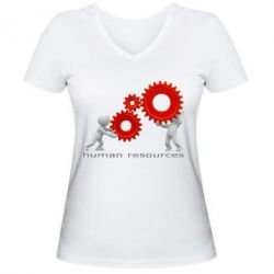 Женская футболка с V-образным вырезом Human resources work