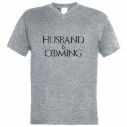 Мужская футболка  с V-образным вырезом Husband is coming