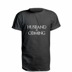 Удлиненная футболка Husband is coming