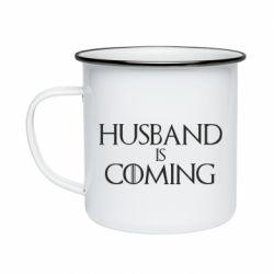 Кружка эмалированная Husband is coming