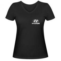Женская футболка с V-образным вырезом Hyundai Small - FatLine