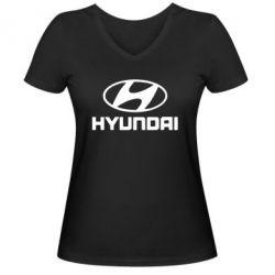 Женская футболка с V-образным вырезом HYUNDAI