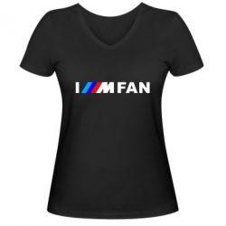 Жіноча футболка з V-подібним вирізом I am FAN