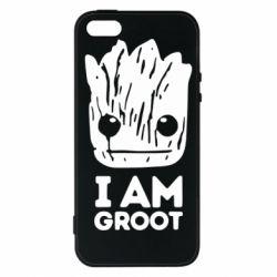 Купить Стражи Галактики, Чехол для iPhone5/5S/SE I am Groot text, FatLine
