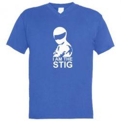 Мужская футболка  с V-образным вырезом I am the Stig - FatLine