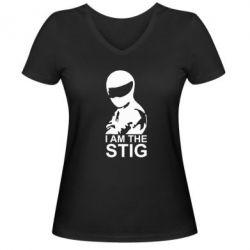 Женская футболка с V-образным вырезом I am the Stig - FatLine