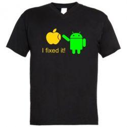 Мужская футболка  с V-образным вырезом I fixed it! Android - FatLine