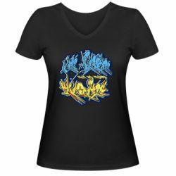 Женская футболка с V-образным вырезом I from Ukraine Graffiti