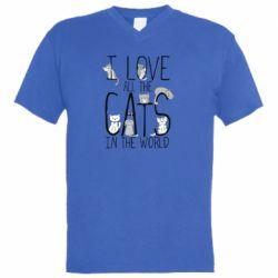 Мужская футболка  с V-образным вырезом I Love all the cats in the world