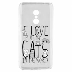 Чехол для Xiaomi Redmi Note 4 I Love all the cats in the world