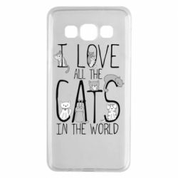 Чехол для Samsung A3 2015 I Love all the cats in the world