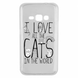 Чехол для Samsung J1 2016 I Love all the cats in the world