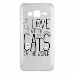 Чехол для Samsung J3 2016 I Love all the cats in the world