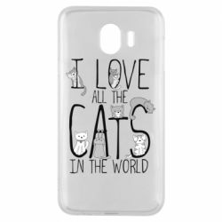 Чехол для Samsung J4 I Love all the cats in the world