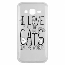 Чехол для Samsung J5 2015 I Love all the cats in the world