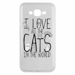 Чехол для Samsung J7 2015 I Love all the cats in the world
