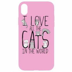 Чехол для iPhone XR I Love all the cats in the world