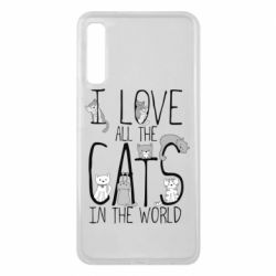 Чехол для Samsung A7 2018 I Love all the cats in the world