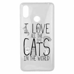 Чехол для Xiaomi Mi Max 3 I Love all the cats in the world