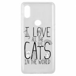 Чехол для Xiaomi Mi Mix 3 I Love all the cats in the world