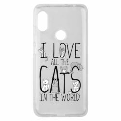 Чехол для Xiaomi Redmi Note 6 Pro I Love all the cats in the world