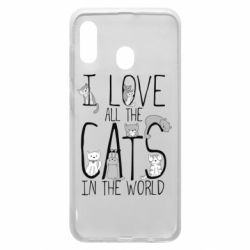 Чехол для Samsung A20 I Love all the cats in the world