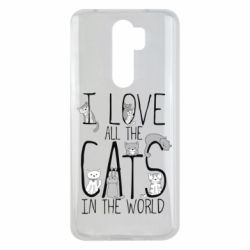 Чехол для Xiaomi Redmi Note 8 Pro I Love all the cats in the world