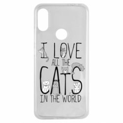 Чехол для Xiaomi Redmi Note 7 I Love all the cats in the world