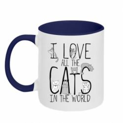Кружка двухцветная 320ml I Love all the cats in the world