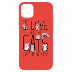 Чехол для iPhone 11 I Love all the cats in the world
