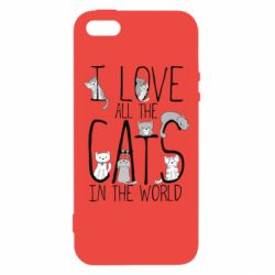 Чехол для iPhone5/5S/SE I Love all the cats in the world
