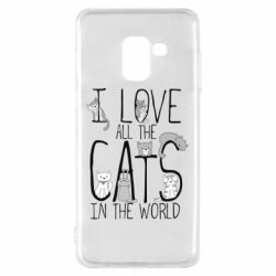Чехол для Samsung A8 2018 I Love all the cats in the world